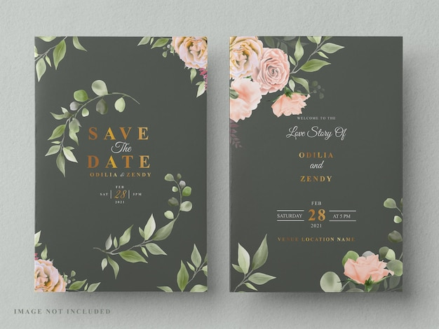 Beautiful and elegant floral wedding invitation card template