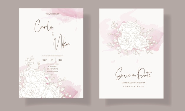 Modello di carta di invito matrimonio floreale bello ed elegante