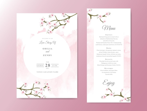 Beautiful and elegant floral wedding invitation card templates