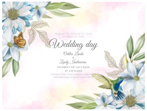 Beautiful and elegant floral wedding invitation card