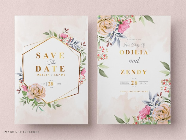 Beautiful and elegant floral wedding invitation card