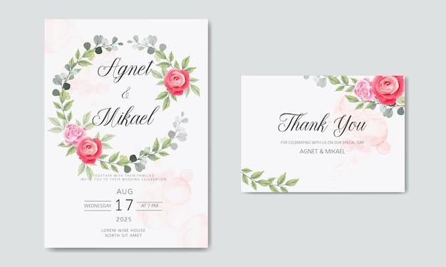 Beautiful and elegant floral wedding invitation cards