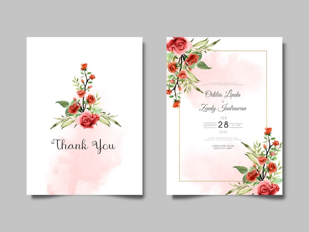 Beautiful and elegant flower and leaves watercolor wedding invitation cards