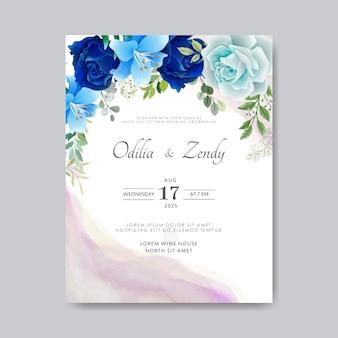 Beautiful and elegant flower and leaves wedding invitation