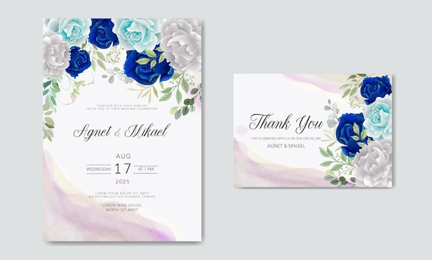 Beautiful and elegant flower and leaves wedding invitation