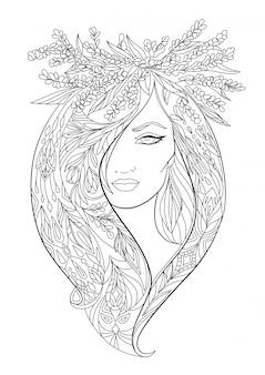 美しいエレガントな女の子と花。ぬりえ。
