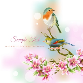 Beautiful and elegant handrawn cherry blossom  watercolor background