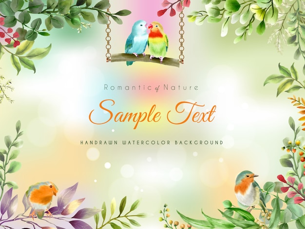 Beautiful and elegant handrawn floral watercolor background