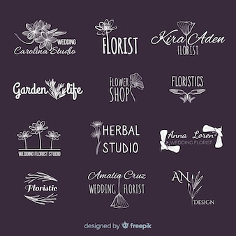 Beautiful and elegant logo or logotype set for wedding or florist