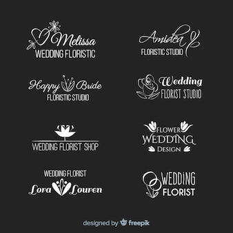 Beautiful and elegant logo or logotype set for wedding or florist