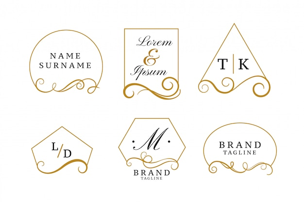Красивые элегантные логотипы или коллекция свадебных монограмм