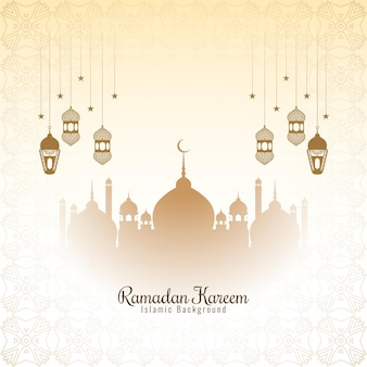 Beautiful elegant ramadan kareem festival greeting card