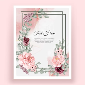 Beautiful elegant rose flower watercolor frame