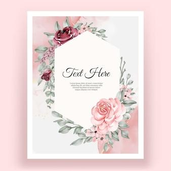 아름 다운 우아한 장미 꽃 수채화 프레임
