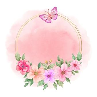 아름다운 우아한 수채화 꽃 프레임