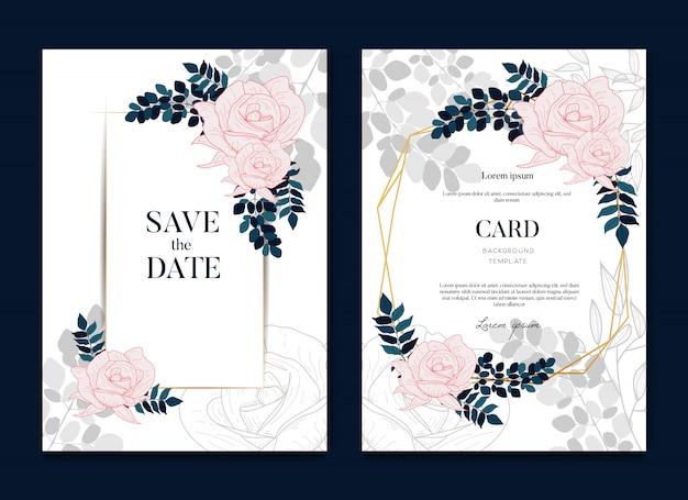 Beautiful elegant wedding card and invitation