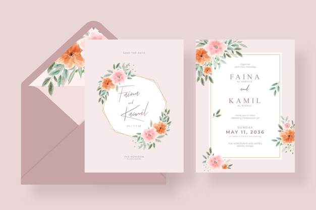 Beautiful and elegant wedding card template with envelope