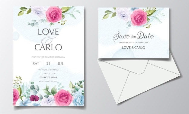 Beautiful and elegant wedding invitation card template set with floral frame