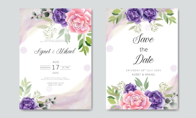 Beautiful and elegant wedding invitation cards with floral themes