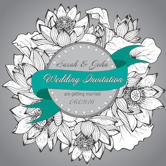 Красивое элегантное свадебное приглашение с графическими цветами лотоса
