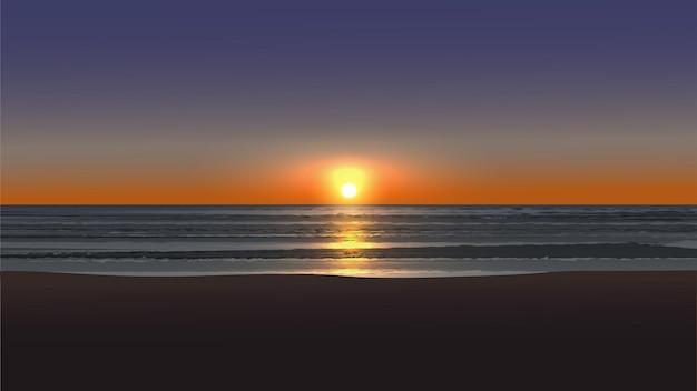 Красивый пустой пляж закат пейзаж