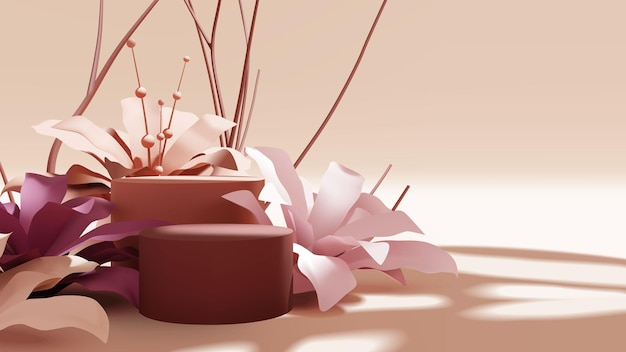 Beautiful empty podium scene with realistic colorful flower and branches