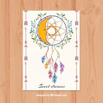 Beautiful ethnic card with dreamcatcher in watercolor style