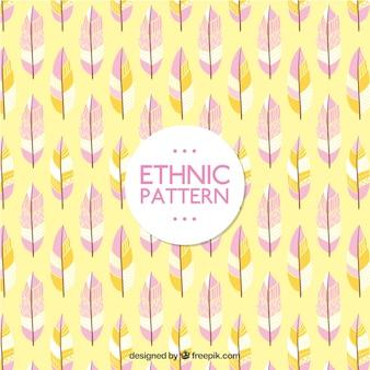 Bella modello etnico con piume disegnate a mano