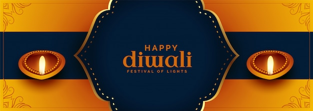 Beautiful ethnic style happy diwali festival banner