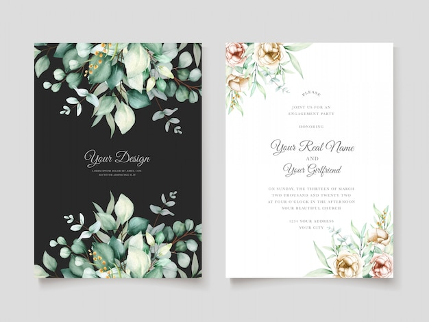 Beautiful eucalyptus wedding invitation card set