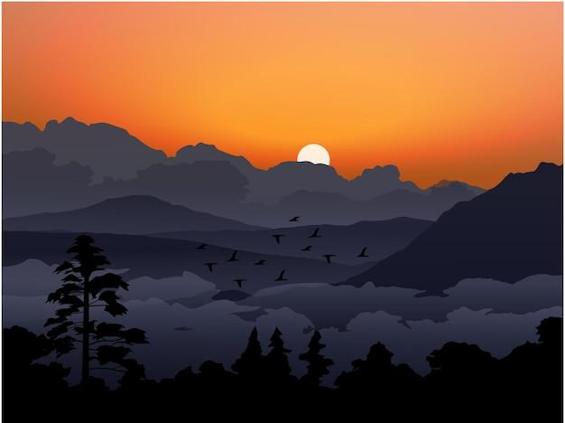 흐린 산과 숲과 아름다운 저녁 하늘