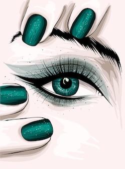 아름다운 눈 화장과 매니큐어