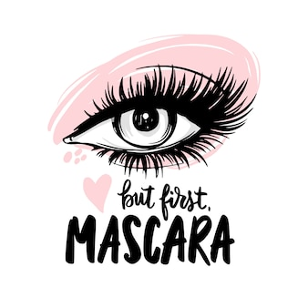 Beautiful eye with long black lashes, pink eyeshadow. but first, mascara - handwritten quote.