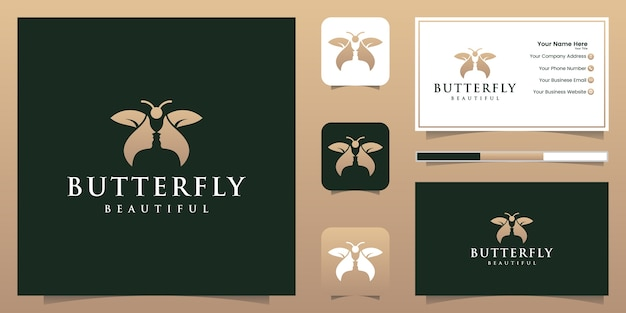 Beautiful face  and butterfly logo concept and business card inspiration