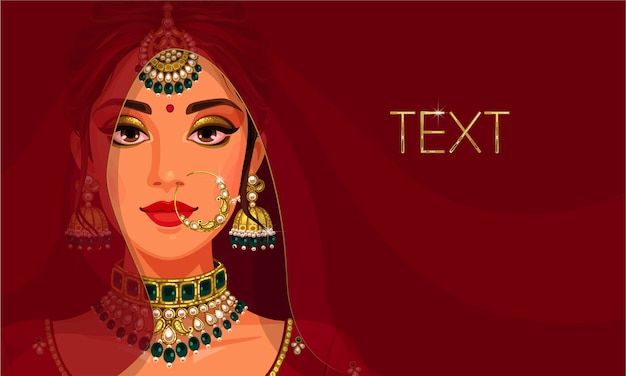Beautiful face of indian bride with copy space