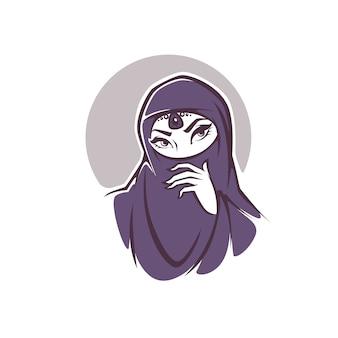 アラビア語のイスラム教徒の女性の美しい顔、あなたのロゴ、ラベル、エンブレムのベクトル図