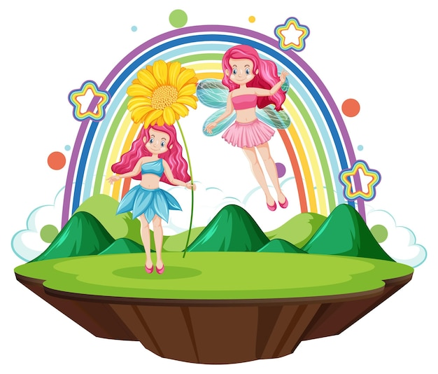 Beautiful fairies character with rainbow on white background