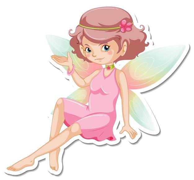 Стикер красивая фея из мультфильма