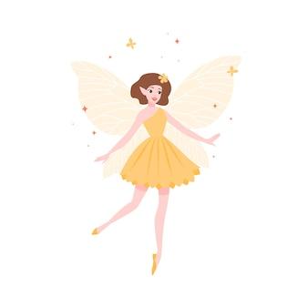 노란 드레스와 나비 날개 흰색 배경에 고립 된 아름 다운 요정. 민속 신화의 마법 생물, 전설 또는 동화 캐릭터. 플랫 만화 벡터 일러스트 레이 션.