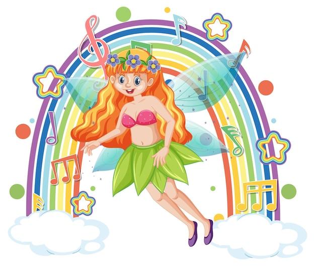Bella fata in piedi su una nuvola con arcobaleno