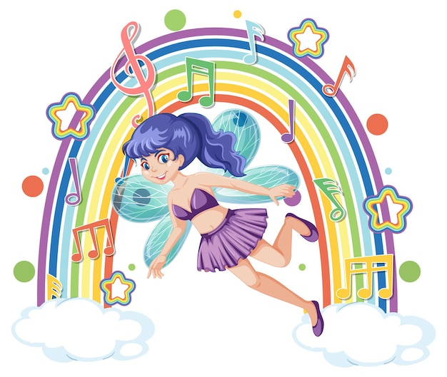 Beautiful fairy standing on a cloud with rainbow