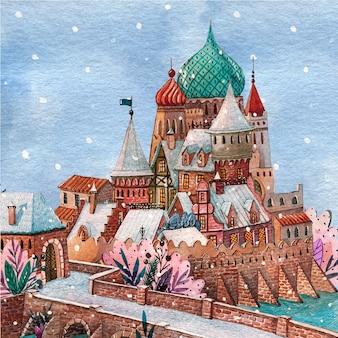 Bellissimo castello da favola nell'orario invernale