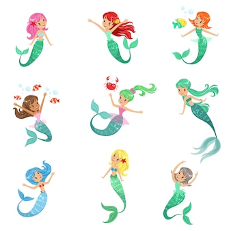 Beautiful fairy tale mermaid princess with colorful hair and taill set of  illustrations