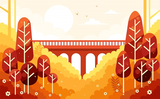 Beautiful fall autumn scenery and the bridge
