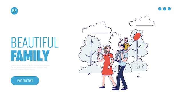 웹 사이트 디자인을위한 아름다운 가족 선형 방문 페이지