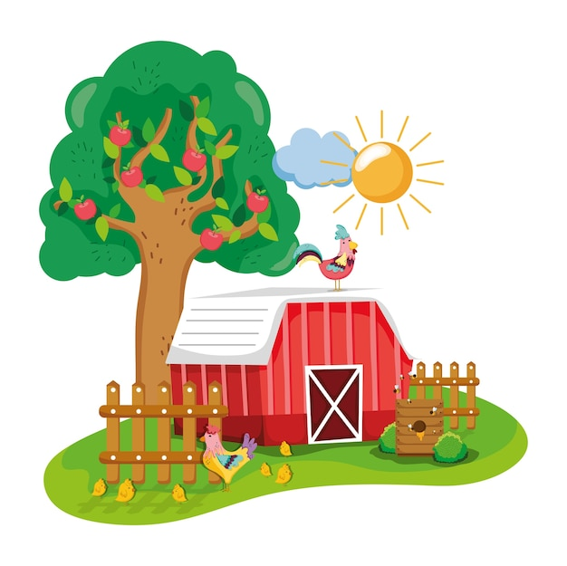 Beautiful farm cartoon