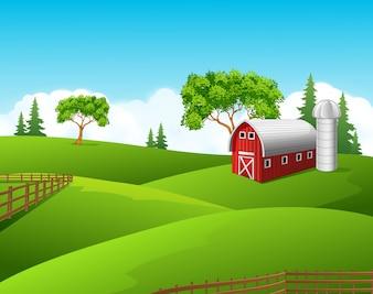 Beautiful farm on nature background