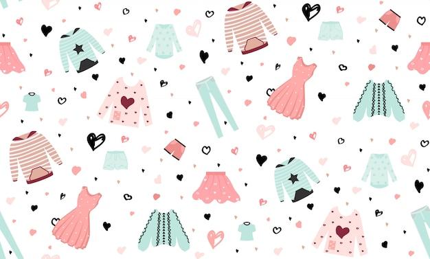 Beautiful fashion clothing seamless pattern