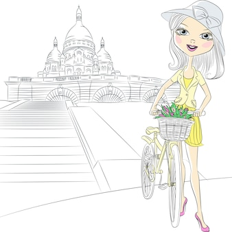 Beautiful fashion girl with a basket of flowers on a bike in front of sacre coeur in paris