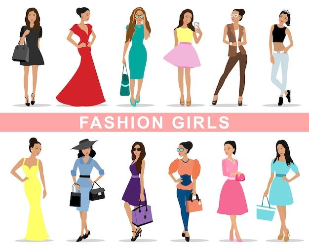 Набор красивых модных девушек
